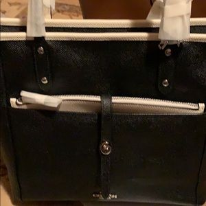 Coach CITY TOTE WITH POUCH SILVER/BLACK CHALK